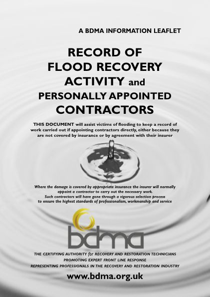 Record of flood recovery activity - BDMA (British Damage